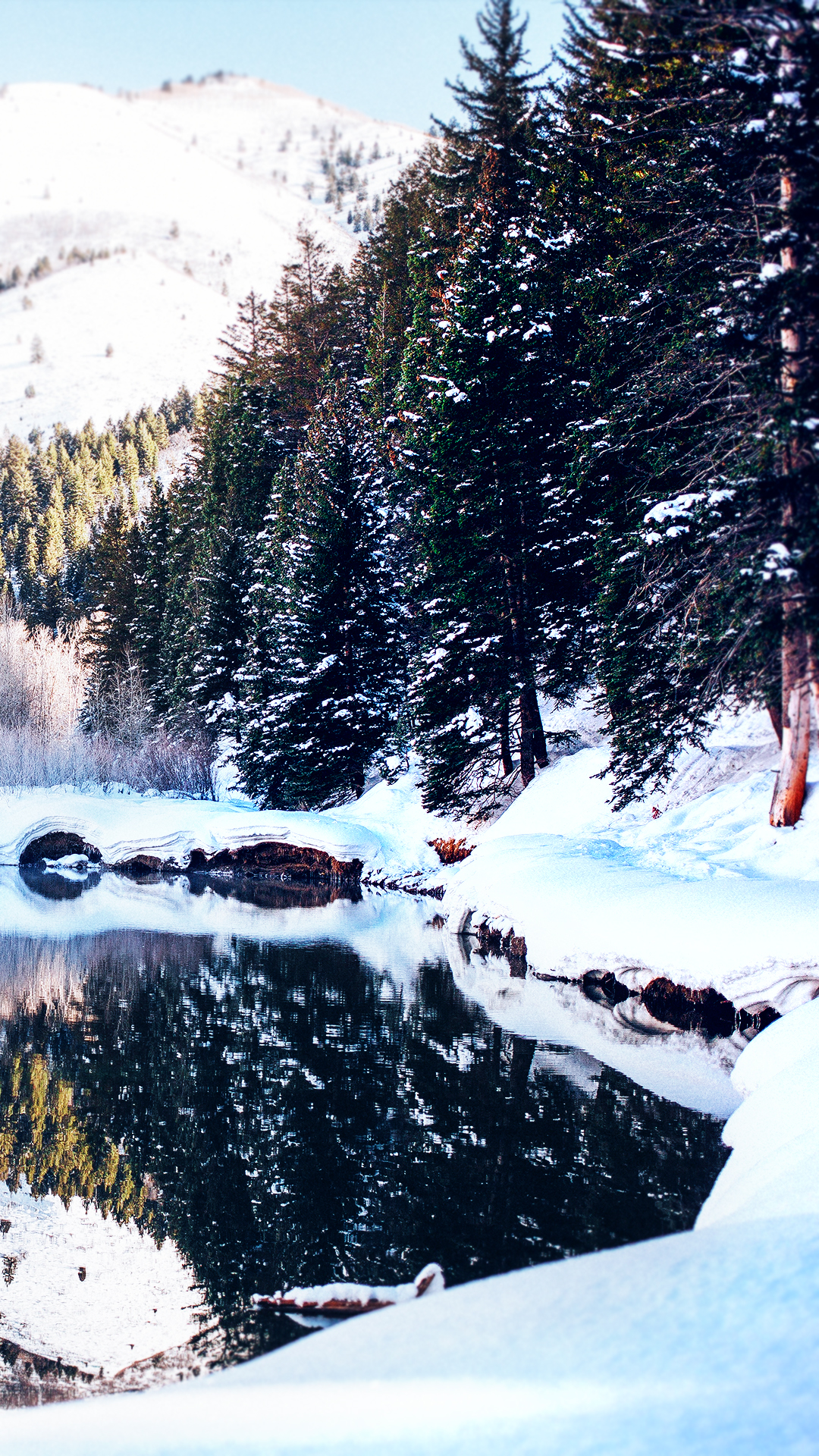 Winter lake 1080 x 1920 hd wallpaper - Free winter wallpaper for phone ...